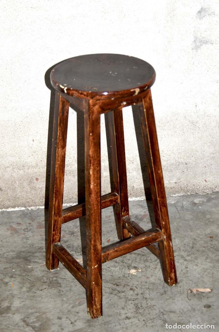 taburete alto de madera - comprar sillas antiguas en todocoleccion