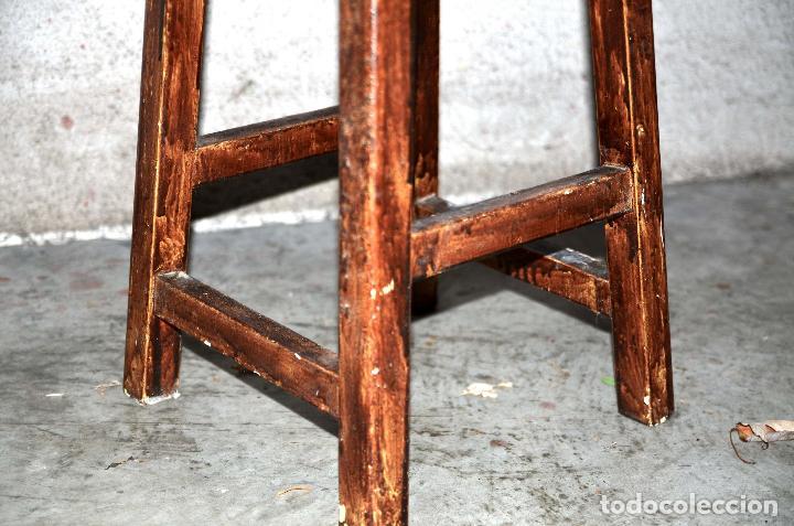 Antigüedades: TABURETE ALTO DE MADERA BANQUETA DE TRABAJO ASIENTO DE TALLER - Foto 2 - 65759326