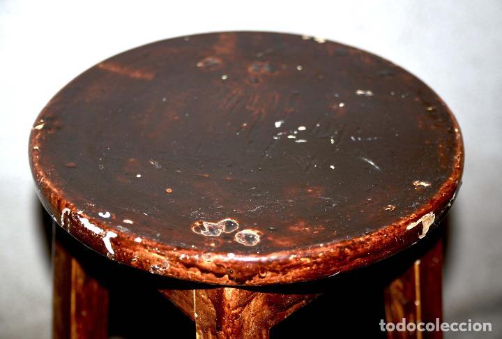 Antigüedades: TABURETE ALTO DE MADERA BANQUETA DE TRABAJO ASIENTO DE TALLER - Foto 3 - 65759326
