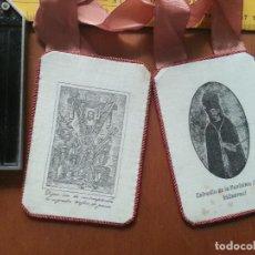 Antigüedades: ANTIGUO ESCAPULARIO GRABADO EN TELA COFRADIA DE LA PURISIMA SANGRE VILLAREAL 12X 8,5 MUY BUEN ESTADO. Lote 65841326