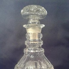 Antiques - Botella de cristal tallado. ¿Inglaterra?. Siglo XIX-XX. - 65872154