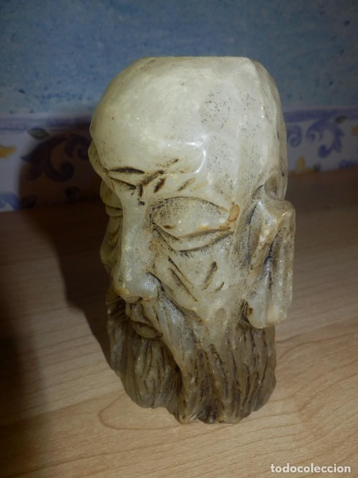 Antigüedades: Portavelas - Cabeza hombre rasgos orientales - Alabastro - - Foto 2 - 65899962