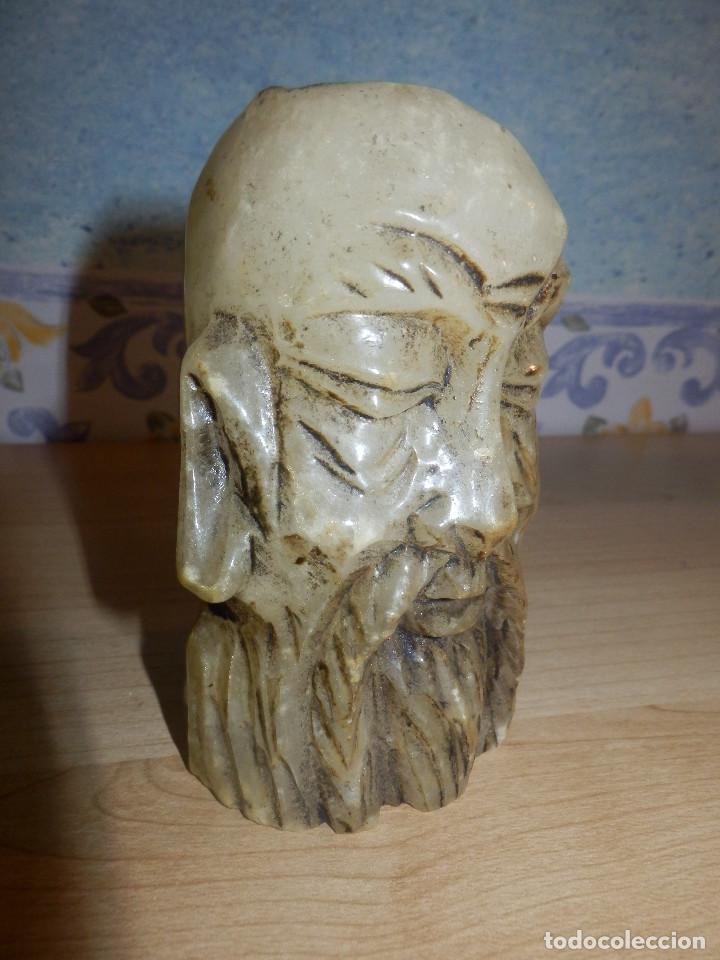 Antigüedades: Portavelas - Cabeza hombre rasgos orientales - Alabastro - - Foto 3 - 65899962