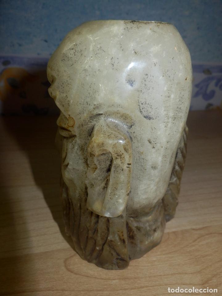 Antigüedades: Portavelas - Cabeza hombre rasgos orientales - Alabastro - - Foto 4 - 65899962