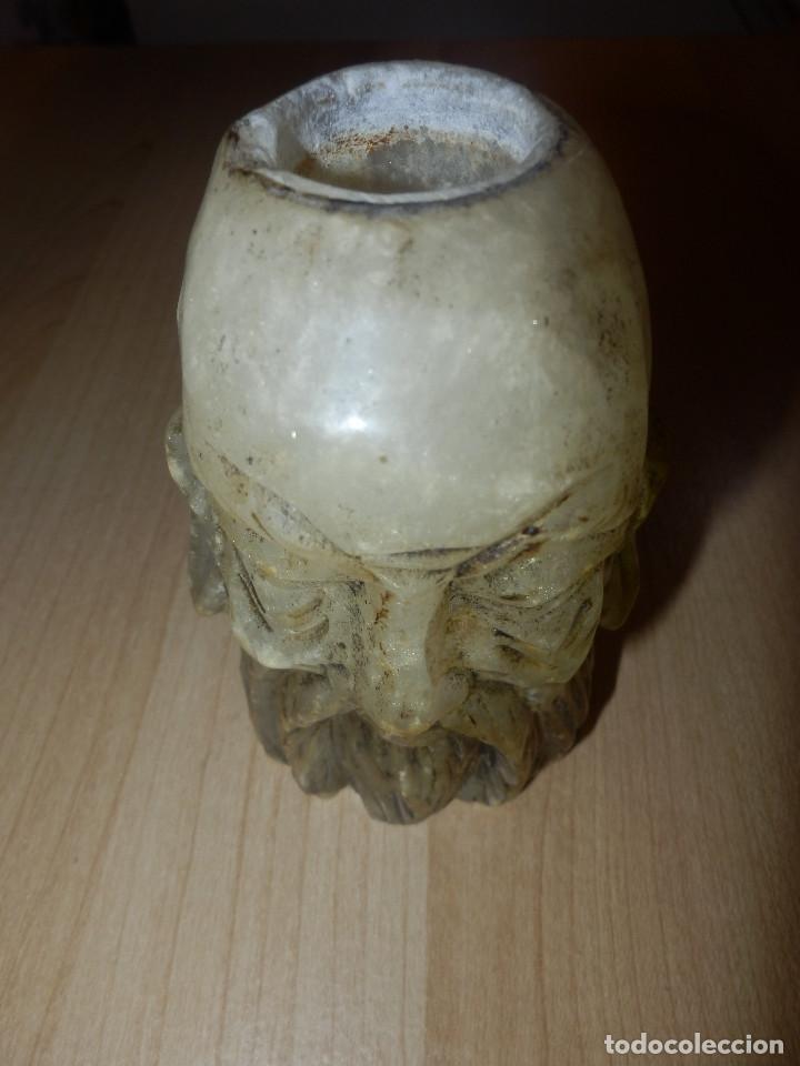 Antigüedades: Portavelas - Cabeza hombre rasgos orientales - Alabastro - - Foto 6 - 65899962