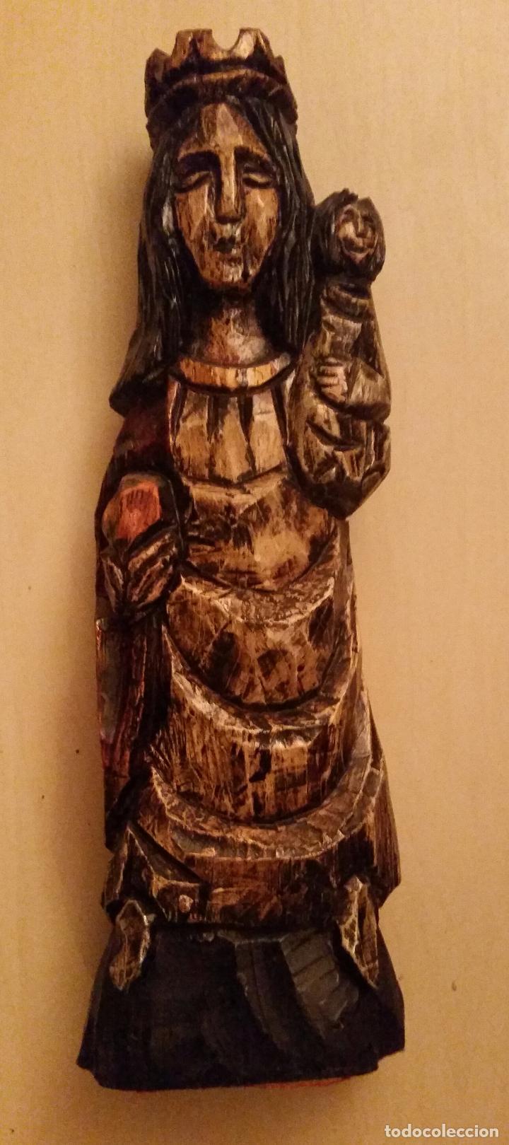 Antigüedades: ANTIGUA TALLA EN MADERA MACIZA DE VIRGEN CON NIÑO (AÑOS 50) - Foto 2 - 47356003