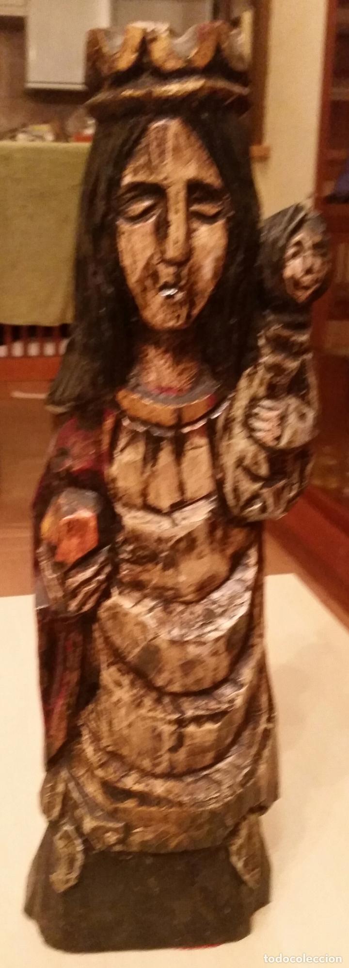 Antigüedades: ANTIGUA TALLA EN MADERA MACIZA DE VIRGEN CON NIÑO (AÑOS 50) - Foto 4 - 47356003
