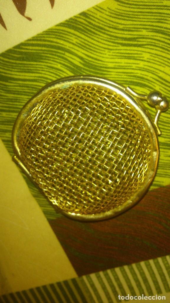 Antigüedades: Antiguo monedero de red recia,metal dorado.poco visto - Foto 2 - 65964698