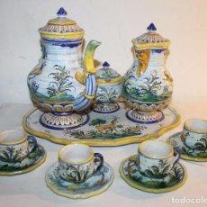 Antigüedades: JUEGO DE CAFÉ - CERÁMICA ESMALTADA DE TALAVERA - RUIZ DE LUNA - PRINCIPIOS DEL SIGLO XX. Lote 65965006
