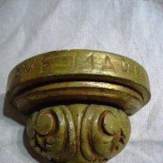 Antigüedades: ANTIGUA MENSULA DE IGLESIA EN MADERA POLICROMADA. Lote 65980566