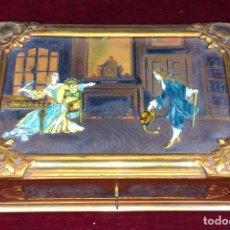 Antigüedades: CAJA-JOYERO. MADERA DORADA AL ORO FINO. CUERO GOFRADO. CELULOIDE. ESPAÑA. XIX-XX. Lote 65836602