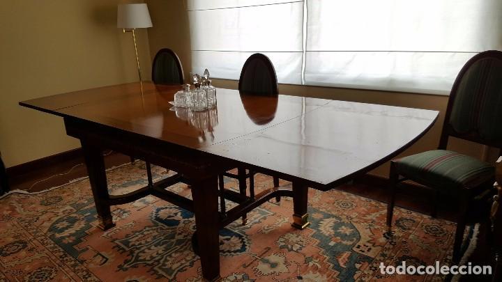 Antigüedades: Conjunto mesa comedor caoba y seis sillas - Foto 2 - 65993414