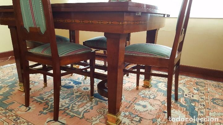 Antigüedades: Conjunto mesa comedor caoba y seis sillas - Foto 3 - 65993414