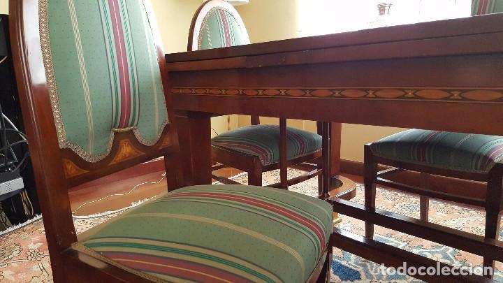 Antigüedades: Conjunto mesa comedor caoba y seis sillas - Foto 4 - 65993414