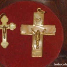 Antigüedades: CRUZ DE NACAR,2 CRUCES DE NACAR O SIMILAR DE COMUNION,AÑOS 70.. Lote 66018802