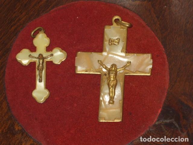 Antigüedades: CRUZ DE NACARADA,2 CRUCES DE COMUNION NACARADAS,AÑOS 70. - Foto 2 - 66018802
