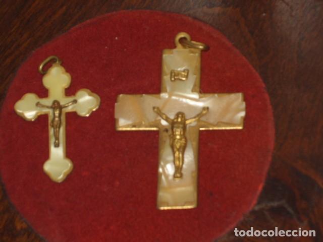 Antigüedades: CRUZ DE NACARADA,2 CRUCES DE COMUNION NACARADAS,AÑOS 70. - Foto 3 - 66018802