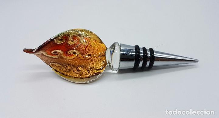 Antigüedades: Bello tapón en cristal de murano Italiano con destellos en oro y plata de ley . - Foto 6 - 66034702