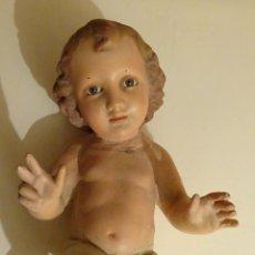 Antigüedades: FIGURA NIÑO JESÚS. OJOS DE VIDRIO. ALTURA 31 CM. PESO 1213 GRAMOS. Lote 66034870