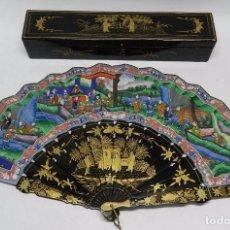 Antigüedades: ESPECTACULAR ABANICO DE LAS MIL CARAS, DE FILIPINAS, REALIZADO EN SEDA PINTADA A MANO. MADERA LACADA. Lote 66103442