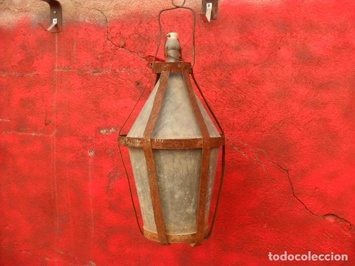 Antigüedades: antigua botella para llevar al campo,zinc,con jaula de chapa,grande - Foto 3 - 66130786