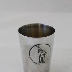 Antigüedades: VASO CON PLATA DE LEY PUNZONADA. Lote 69894209