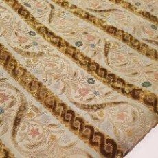 Antigüedades: ANTIGUA CORTINA TERCIOPELO DE ALGODON RASADO.EXCEPCIONAL GRAN RETAL, INDUMENTARIA. Lote 66150870