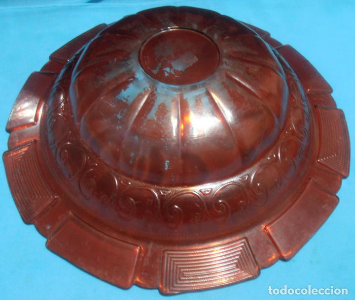 Antigüedades: PALANGANA DE VIDRIO GRUESO CON GREGA, COLOR ROJO - Foto 7 - 66165642