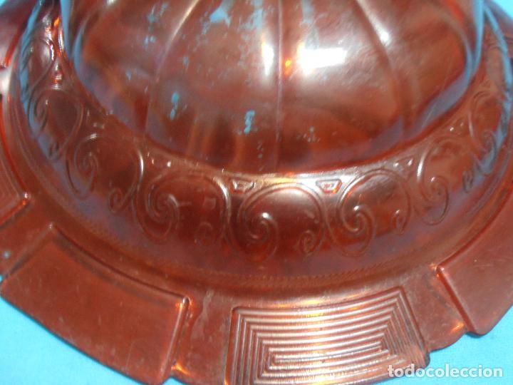 Antigüedades: PALANGANA DE VIDRIO GRUESO CON GREGA, COLOR ROJO - Foto 8 - 66165642