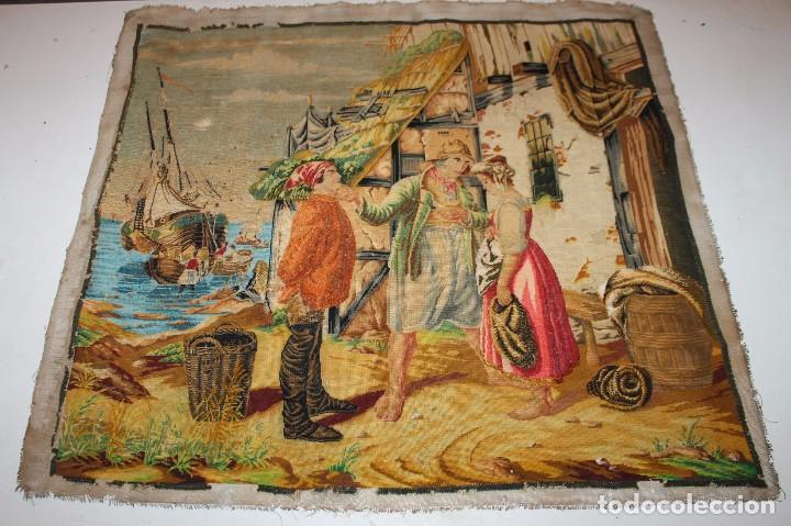 TAPIZ ANTIGUO BORDADO EN PETIT POINT - MARINEROS - OBRA FRANCESA - CIRCA 1850 (Antigüedades - Hogar y Decoración - Tapices Antiguos)