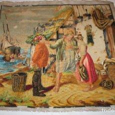 Antigüedades: TAPIZ ANTIGUO BORDADO EN PETIT POINT - MARINEROS - OBRA FRANCESA - CIRCA 1850. Lote 66174066