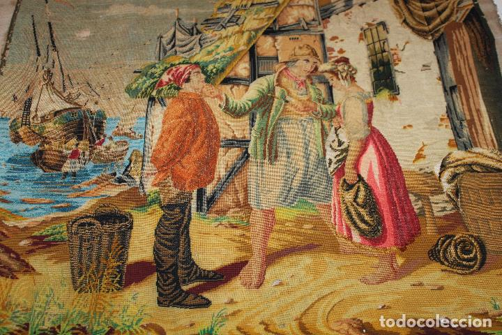 Antigüedades: TAPIZ ANTIGUO BORDADO EN PETIT POINT - MARINEROS - OBRA FRANCESA - CIRCA 1850 - Foto 2 - 66174066