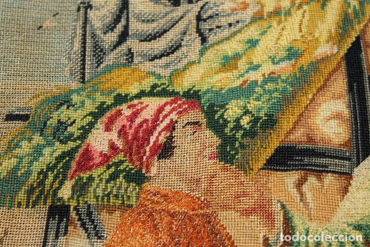 Antigüedades: TAPIZ ANTIGUO BORDADO EN PETIT POINT - MARINEROS - OBRA FRANCESA - CIRCA 1850 - Foto 4 - 66174066