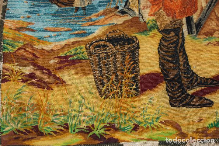 Antigüedades: TAPIZ ANTIGUO BORDADO EN PETIT POINT - MARINEROS - OBRA FRANCESA - CIRCA 1850 - Foto 6 - 66174066