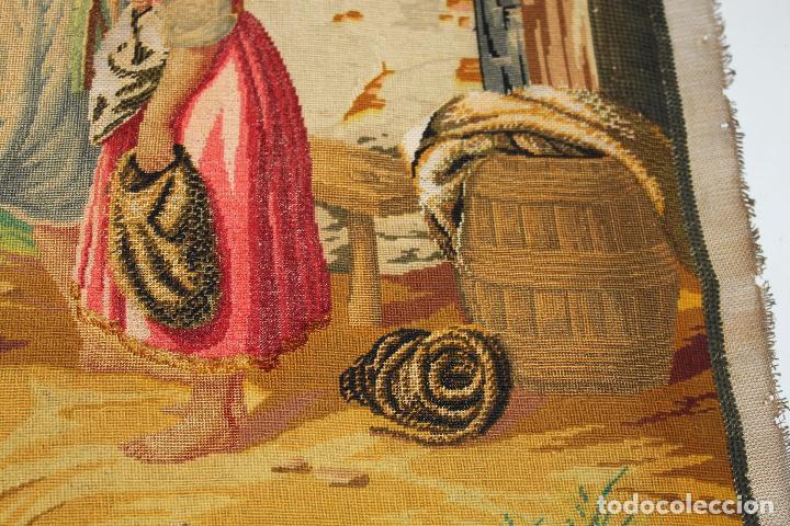 Antigüedades: TAPIZ ANTIGUO BORDADO EN PETIT POINT - MARINEROS - OBRA FRANCESA - CIRCA 1850 - Foto 7 - 66174066