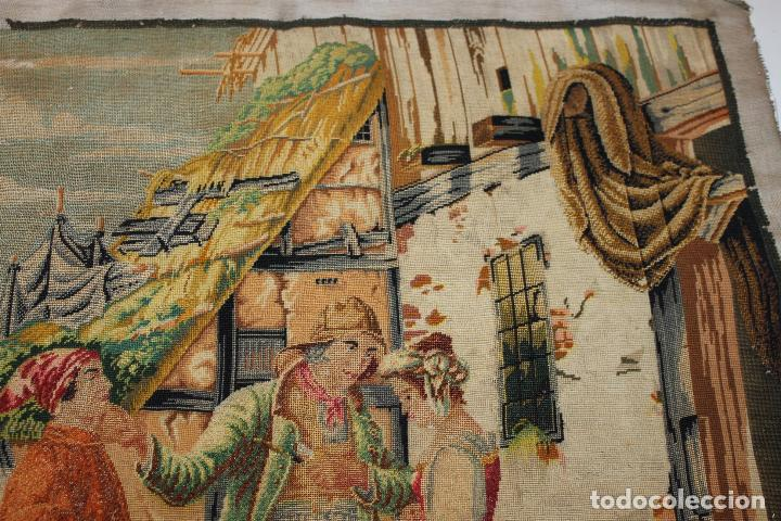 Antigüedades: TAPIZ ANTIGUO BORDADO EN PETIT POINT - MARINEROS - OBRA FRANCESA - CIRCA 1850 - Foto 8 - 66174066