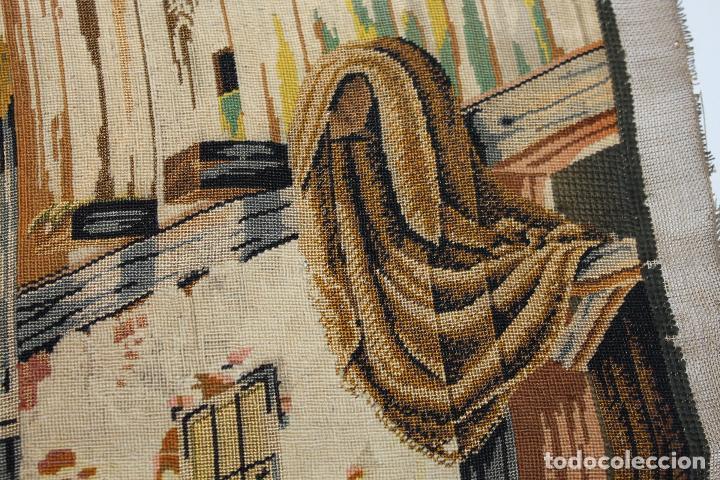 Antigüedades: TAPIZ ANTIGUO BORDADO EN PETIT POINT - MARINEROS - OBRA FRANCESA - CIRCA 1850 - Foto 9 - 66174066