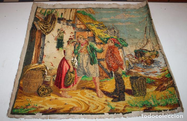 Antigüedades: TAPIZ ANTIGUO BORDADO EN PETIT POINT - MARINEROS - OBRA FRANCESA - CIRCA 1850 - Foto 15 - 66174066