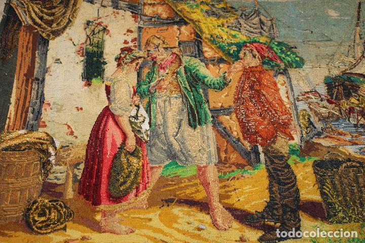 Antigüedades: TAPIZ ANTIGUO BORDADO EN PETIT POINT - MARINEROS - OBRA FRANCESA - CIRCA 1850 - Foto 16 - 66174066