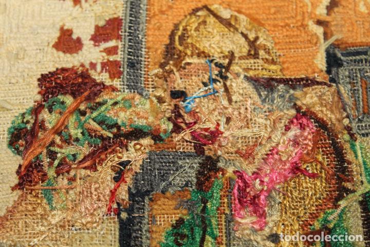 Antigüedades: TAPIZ ANTIGUO BORDADO EN PETIT POINT - MARINEROS - OBRA FRANCESA - CIRCA 1850 - Foto 18 - 66174066