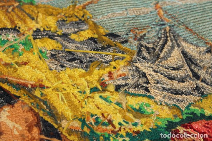 Antigüedades: TAPIZ ANTIGUO BORDADO EN PETIT POINT - MARINEROS - OBRA FRANCESA - CIRCA 1850 - Foto 19 - 66174066