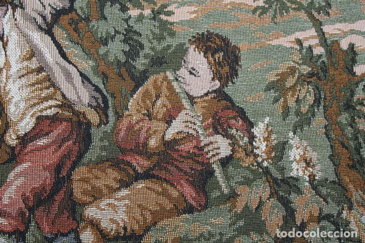 Antigüedades: TAPIZ EN JACQUARD DE ALGODÓN - ESCENA PASTORIL SIGUIENDO MODELOS ROCOCÓ FRANCESES - CIRCA 1950 - Foto 3 - 66174678