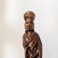 Antigüedades: FIGURA DE MADERA TALLADA. ANTIGUA CHINA.. Lote 66193214