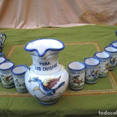 Antigüedades: LOTE PEÑA LOS CHISPAS ; 1 JARRA Y 18 JARRITAS EN CERAMICA VIDRIADA DE TALAVERA ( TOLEDO ). Lote 66229622