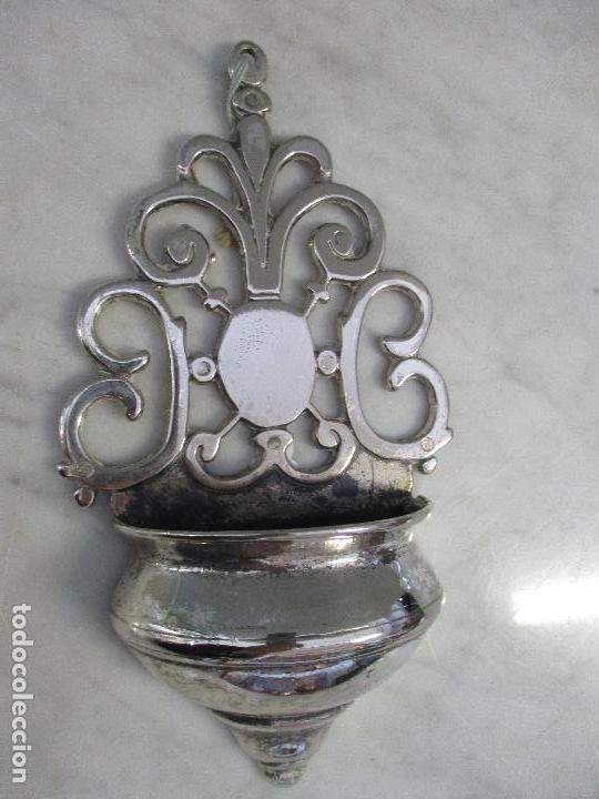 Antigüedades: Antigua Benditera - Barroca - Plateada - Piqueta - 20 cm Altura - Siglo XVIII - Foto 6 - 171569820