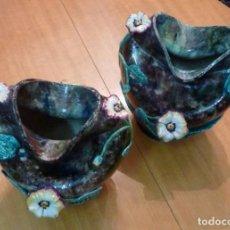 Antigüedades: PAREJA MACETEROS EN CERÁMICA. MODERNISTAS / ART NOUVEAU // CERAMIC FLOWERSPOTS. Lote 66276226