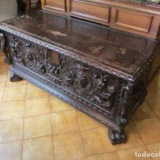 Antigüedades: ESPECTACULAR ARCÓN CASTELLANO DE NOGAL - LEER DESCRIPCIÓN -. Lote 66311438