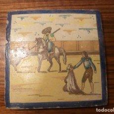 Antigüedades: AZULEJO TORO CABALLO TOREROS. Lote 66312454