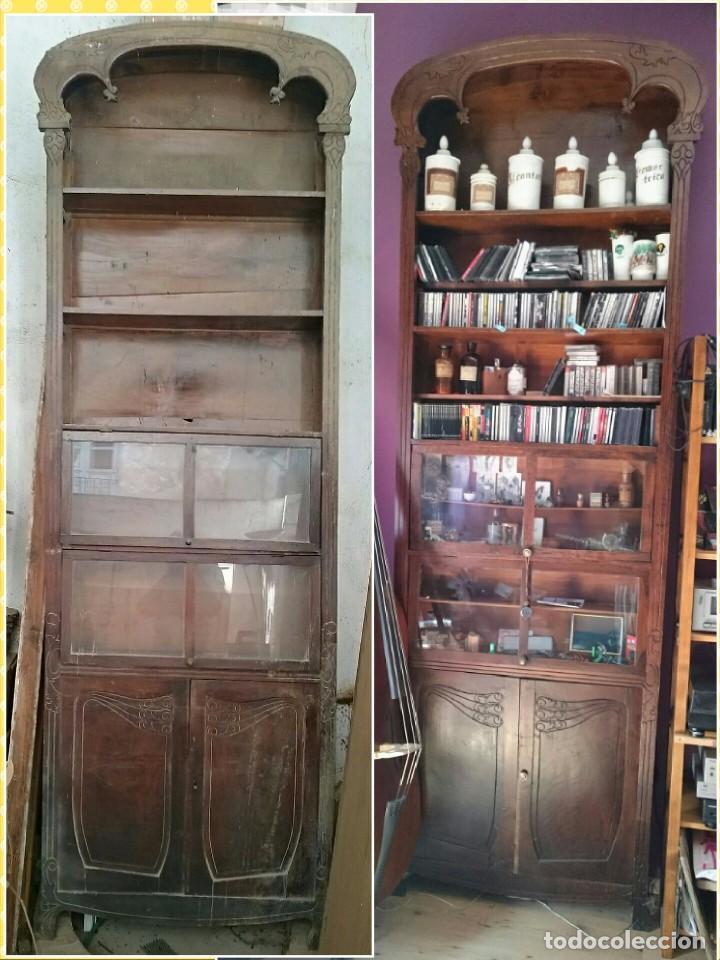 Antigüedades: Armario farmacia siglo XIX antigüedad para restaurar 310 cm altura x 100cm - Foto 2 - 66445174