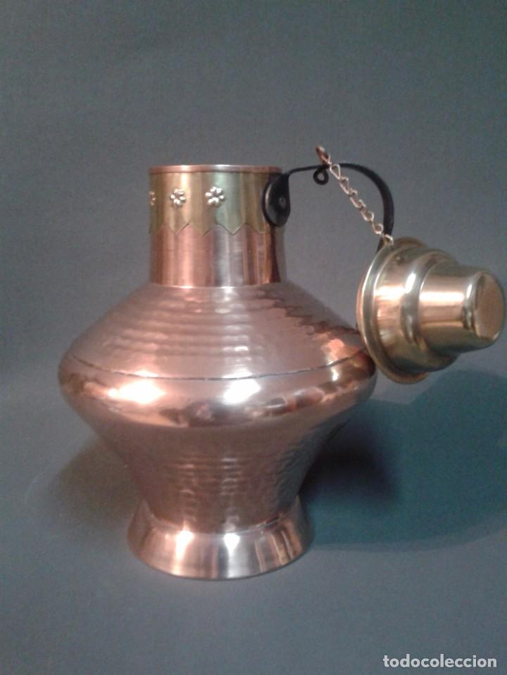 Antigüedades: RECIPIENTE DE COBRE Y LATÓN - Foto 2 - 66473154